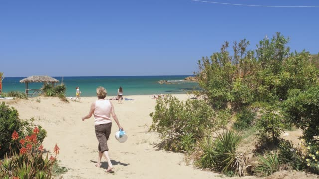 vidéos et rushes de beach canteen iguana, crete, greek islands, greece, europe - grèce