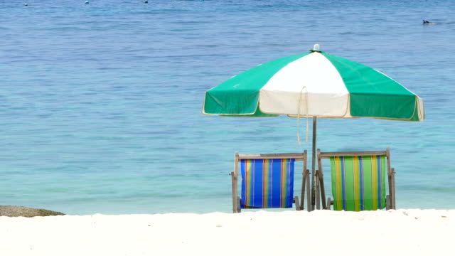 beach chairs at summer beach on paradise island - beach chairs stock videos & royalty-free footage
