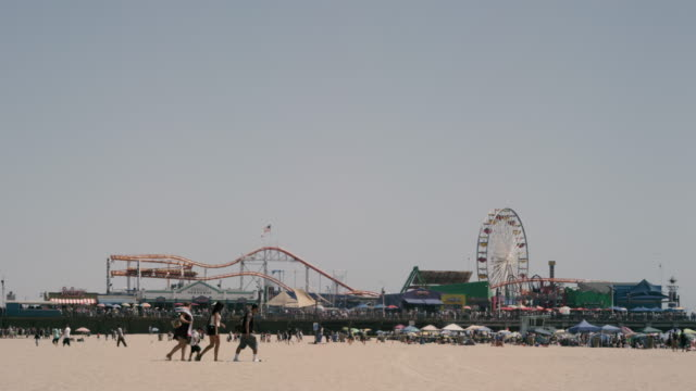 beach day - santa monica pier stock videos & royalty-free footage