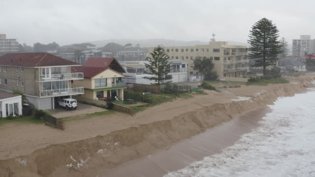 beach erosion is seen at collaroy on the northern beaches on february 10 2020 in sydney australiathe sydney area experienced its wettest weekend in... - coastal feature stock videos & royalty-free footage