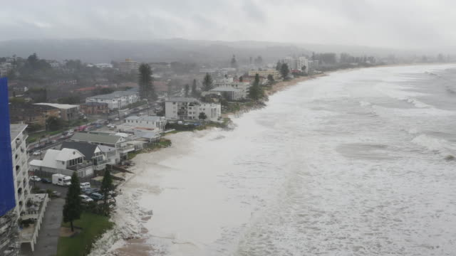 beach erosion is seen at collaroy on the northern beaches on february 10, 2020 in sydney, australia.the sydney area experienced its wettest weekend... - eroded stock videos & royalty-free footage