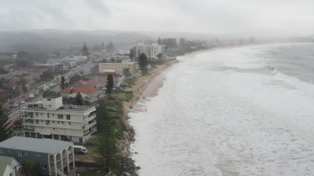 beach erosion is seen at collaroy on the northern beaches on february 10, 2020 in sydney, australia.the sydney area experienced its wettest weekend... - coastal feature stock videos & royalty-free footage
