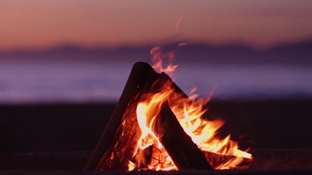 beach fire at dusk - camp fire stock videos & royalty-free footage