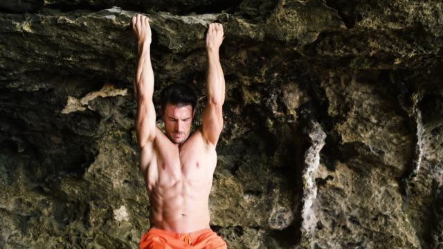 beach fitness - pull ups stock videos & royalty-free footage