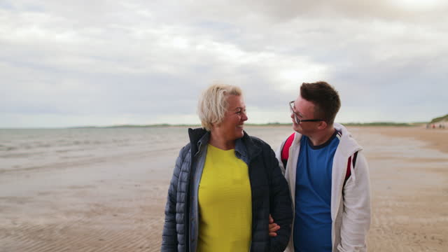 beach fun with mum - intellectual disability stock videos & royalty-free footage