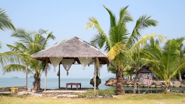 beach gazebo at palm beach - gazebo stock videos & royalty-free footage