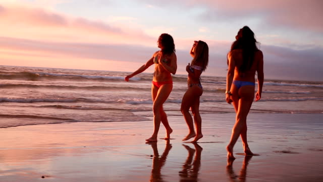 beach girl friends walking at sunset - san diego stock videos and b-roll footage