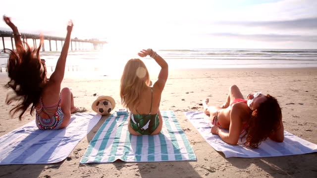 beach girlfriends dancing at sunset - san diego stock videos and b-roll footage