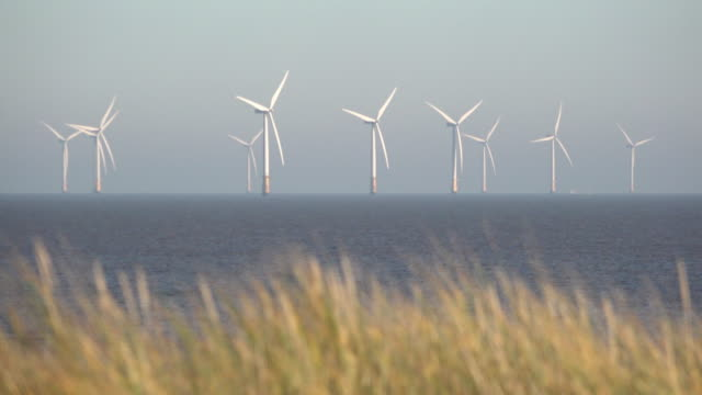 beach grasses on top of sand dunes blow in the wind as turbine blades spin at the huge lincs wind farm that lie eight kilometres offshore in the... - turbine stock videos & royalty-free footage