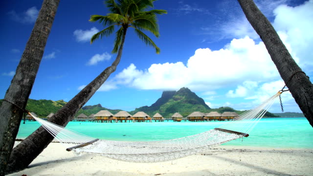 beach hammock overwater bungalows aquamarine lagoon bora bora - lagoon stock videos and b-roll footage