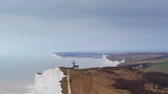 beach head and the seven sisters, england - drone shot - coastline stock videos & royalty-free footage