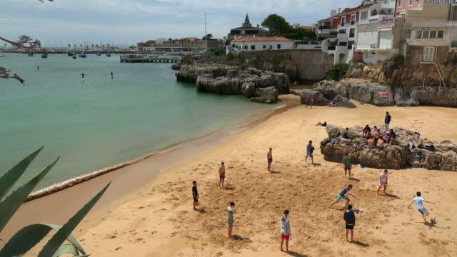 beach in cascais, coast of lisbon, portugal - cascais stock videos and b-roll footage