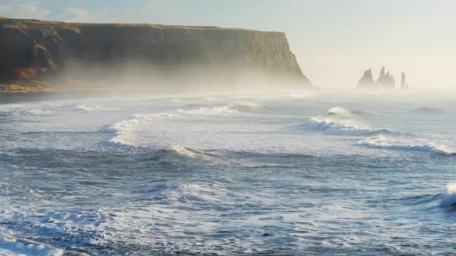 beach in dyrholaey - dyrholaey stock videos & royalty-free footage