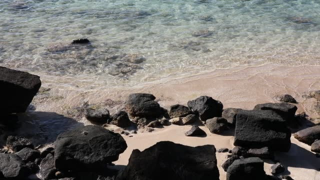 beach in french polynesia, with rocks and beautiful sand - französisch polynesien stock-videos und b-roll-filmmaterial
