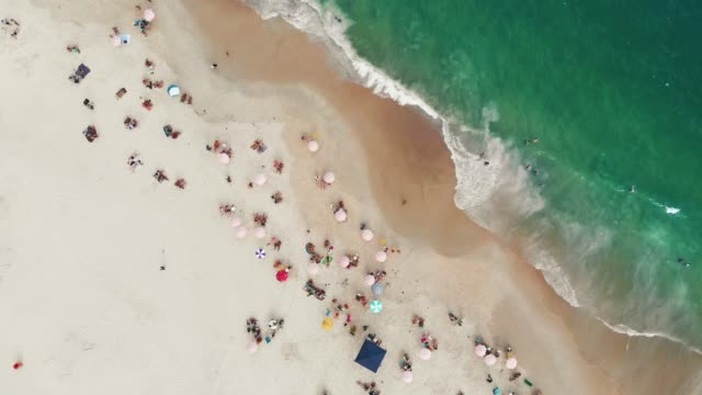 beach in rio de janeiro, brazil from above - towel stock videos & royalty-free footage
