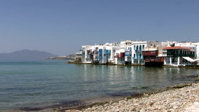 beach, little venice, mykonos, greece - mykonos stock videos & royalty-free footage