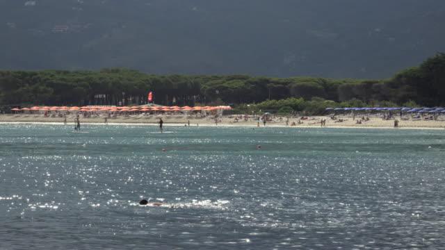 beach of marina di campo - island of elba stock videos & royalty-free footage