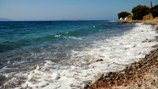 beach on rhodes island, greece - rhodes dodecanese islands stock videos & royalty-free footage