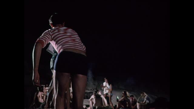 beach party in malta - anno 1970 video stock e b–roll