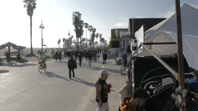 beach path at venice beach, santa monica, los angeles, california, united states of america, north america - santa monica california stock videos & royalty-free footage