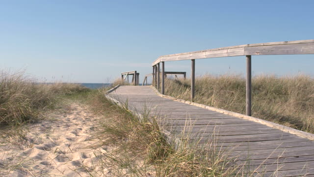 vidéos et rushes de parcours de formation sur la plage - allée couverte de planches