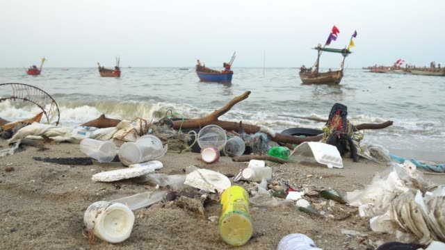 beach pollution. plastic bottles and other trash on sea beach - hygiene stock videos and b-roll footage
