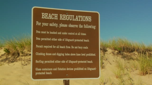 cu, beach regulations sign, provincetown, massachusetts, usa - rules stock videos & royalty-free footage