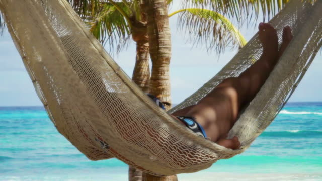 beach relaxation with camera pan - palm tree stock videos & royalty-free footage