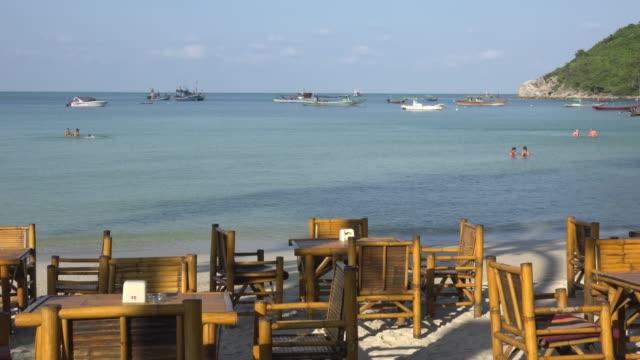 beach restaurant - gulf of thailand stock videos & royalty-free footage