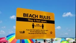 Beach Rules Sign in Florida during the Coronavirus pandemic