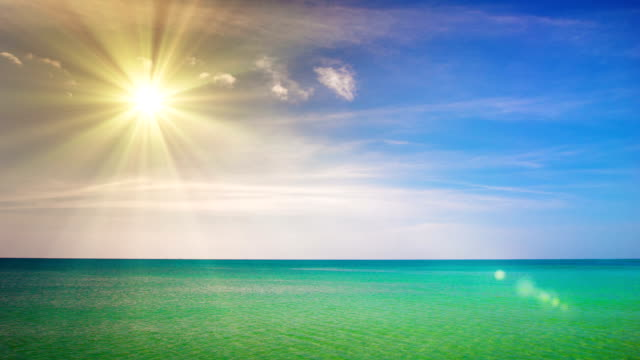 Beach scene showing sand, sea and skyBeach, Sea, Sun, Sunlight, Backgrounds, Nature, Summer, Sky, Landscape, People Traveling, Travel, Vacations, Wave, Blue, No People, Water, Travel Destinations, Sand, Caribbean Sea, Cloud - Sky, Cloudscape, Turquoise Co