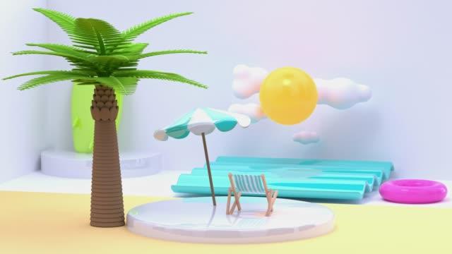 vídeos de stock, filmes e b-roll de praia mar natureza paisagem outdoor viajar conceito 3d renderização cartoon estilo movimento abstrato geométrica cena - ilustração e pintura