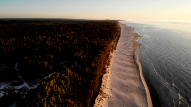 beach sunset. aerial view of polish coastline - poland stock videos & royalty-free footage