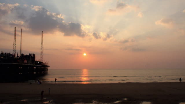 beach sunset time-lapse 2 - blackpool stock videos & royalty-free footage