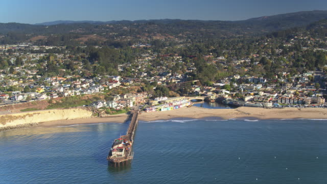 beach to forest in capitola, california - drone shot - santa cruz county california stock videos & royalty-free footage