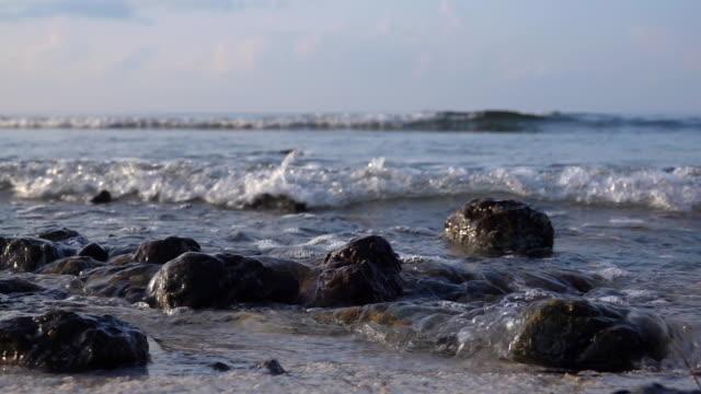 slo mo beach - haystack rock stock videos & royalty-free footage