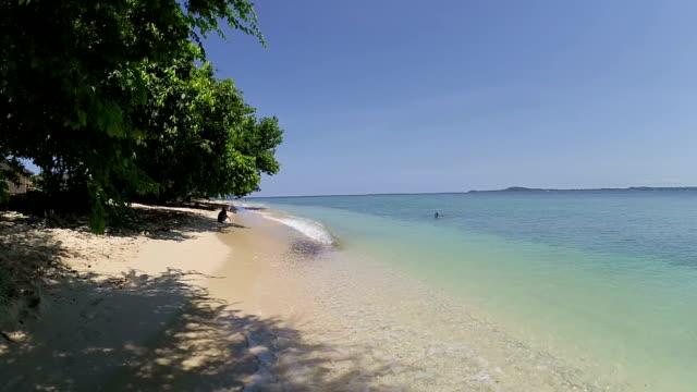 vídeos y material grabado en eventos de stock de beach with clear blue waters - personas en el fondo