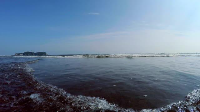 beach with enoshima - plusphoto stock videos & royalty-free footage