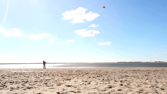 beach with kite flying - north sea stock videos & royalty-free footage