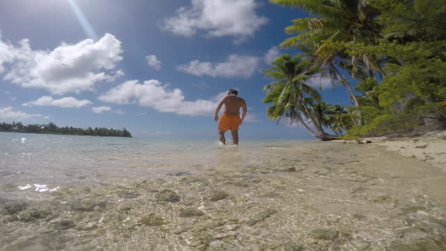 beach with pebbles (coral) with coconut trees, man standing in the sea - tahitian culture stock videos & royalty-free footage