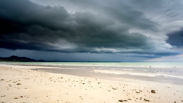 Beach with Stormy clouds; TIME LAPSE
