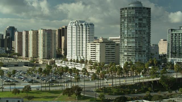beachfront properties in long beach, california - drone shot - long beach california stock videos & royalty-free footage