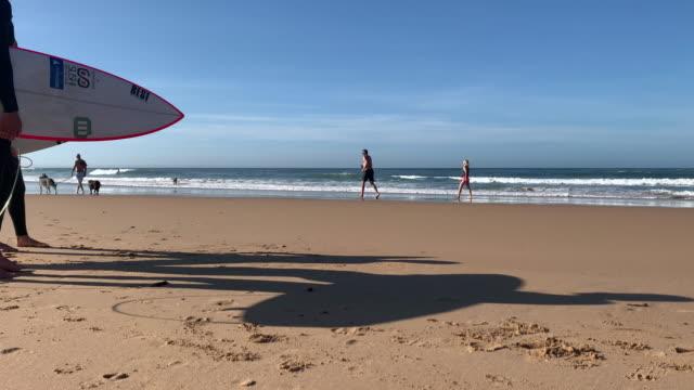 beachgoers and surfers are seen by the sea on carcavelos beach, near lisbon, during the covid-19 coronavirus pandemic on may 23, 2020 in carcavelos,... - カスカイス点の映像素材/bロール