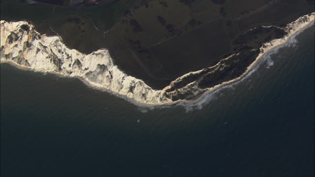 AERIAL Beachy Head cliffs / Eastbourne, East Sussex, United Kingdom
