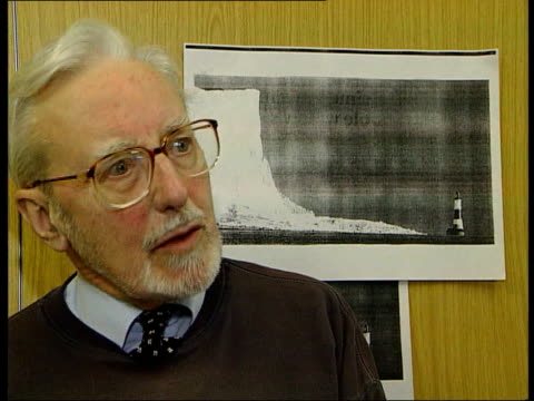 Beachy Head collapse GLOBAL WARMING Beachy Head collapse ITN INT John Surtees interview SOT talks of suicides at Beachy Head Beachy Head People...