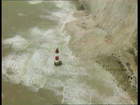 Beachy Head collapse GLOBAL WARMING Beachy Head collapse MERIDIAN ENGLAND Sussex Beachy Head AIR VIEWS Cliffs and lighthouse where large portion of...