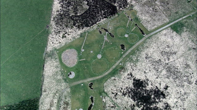 beaghmore stone circles  - aerial view - northern ireland, united kingdom - stone material stock videos and b-roll footage
