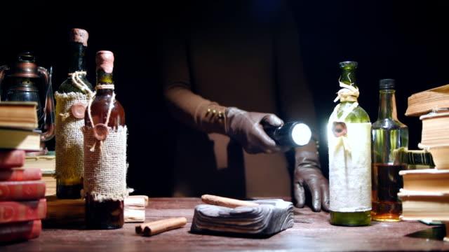 Beam of flashlight searching evidence