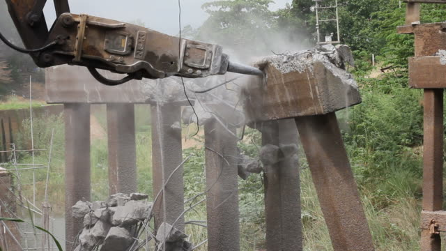 beams bridge collapse - pneumatic drill stock videos & royalty-free footage