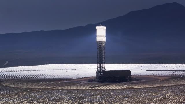 Beams of Reflected Light at Ivanpah Solar Facility - Drone Shot